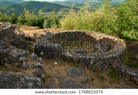 pre-roman stone constructions where the Celts lived surrounded by vegetation Stock photo ©