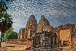 Pre Rup Eastern Mebon Khmer architecture of Angkor wat Lost ancient Khmer city in the jungle in Siem Reap Cambodia.The majestic Hindu pyramid of the ancient empire.