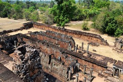 Pre Rup Eastern Mebon Khmer architecture of Angkor wat Lost ancient Khmer city in the jungle in Siem Reap Cambodia.The majestic Hindu pyramid of the ancient empire.View from the top of the temple