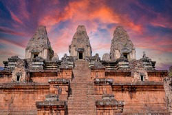 Pre Rup Eastern Mebon Khmer architecture of Angkor wat Lost ancient Khmer city in the jungle in Siem Reap Cambodia.The majestic Hindu pyramid of the ancient empire.Sunset view of spires of temple