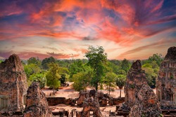 Pre Rup Eastern Mebon Khmer architecture of Angkor wat Lost ancient Khmer city in the jungle in Siem Reap Cambodia.The majestic Hindu pyramid of the ancient empire.View of the sunset over the jungle
