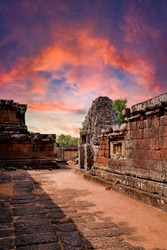 Pre Rup Eastern Mebon Khmer architecture of Angkor wat Lost ancient Khmer city in the jungle in Siem Reap Cambodia.The majestic Hindu pyramid of the ancient empire.Sunset view of temple shrine