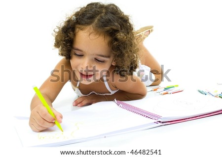 Pre school child drawing over white background