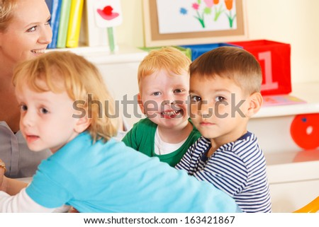 Pre-school children in the classroom with the teacher