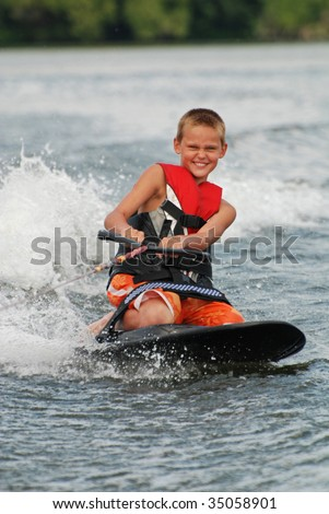 pre-teen on knee board