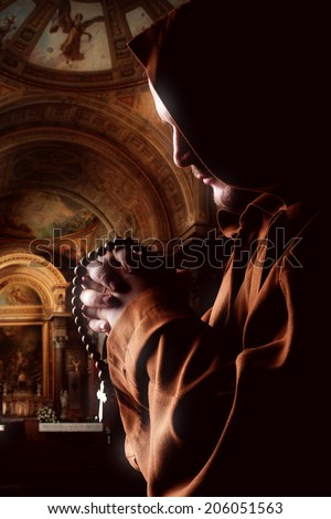 Preaching medieval monk