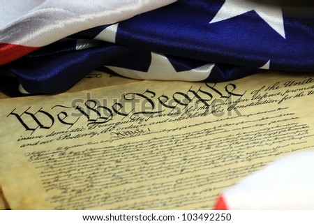 Preamble to the Constitution of the United States and American Flag
