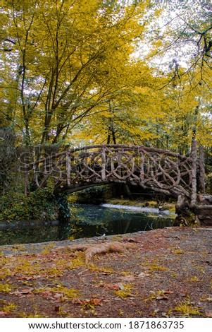 Precioso puente de madera entre la naturaleza en el Pac nou de Olot Foto stock ©