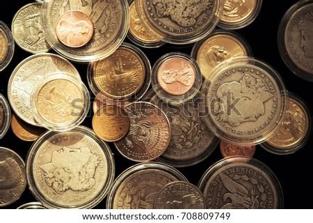 Precious American Dollars Collectible Coins Closeup.