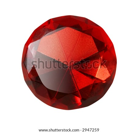 Precious red diamond isolated on white