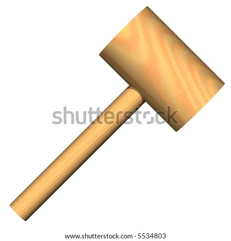 precision wooden mallet isolated on white