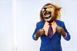 Predator angry boss concept man with lion head