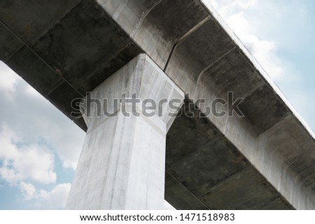 Prefabricated concrete of bridge - Built the structure of column support the railroad. Technology of construction. #1471518983