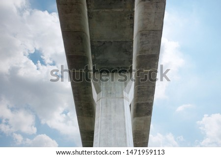 Prefabricated concrete of bridge - Built the structure of column support the railroad. Technology of construction. #1471959113