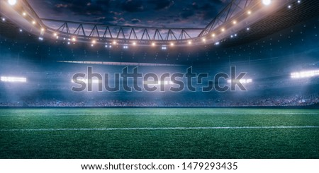 Prefessional soccer stadium full of spectators
