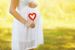 Pregnancy, maternity and new family concept - pregnant woman and heart symbol outdoors in sunny summer day