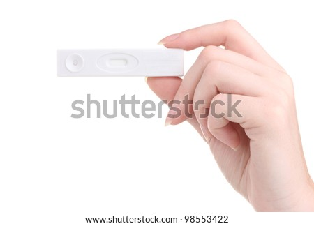 pregnancy test in hand isolated on white stock photo. Black Bedroom Furniture Sets. Home Design Ideas