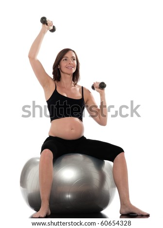 pregnant caucasian woman workout isolated studio on white background