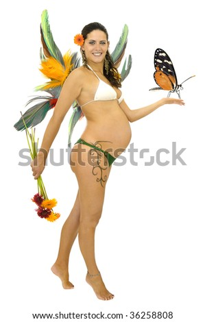Pregnant fairy with tattoo and wings