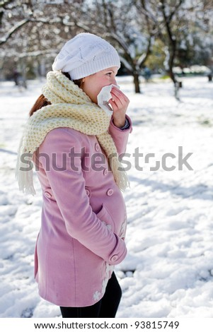 Pregnant with a cold - stock photo