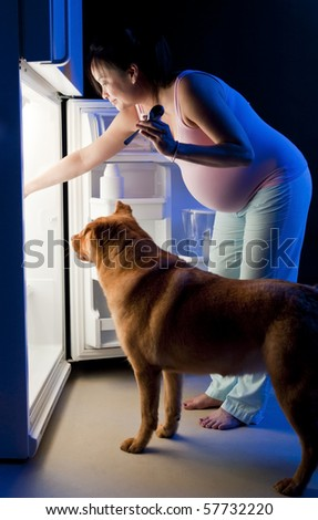 Pregnant woman and her pet looking for food in the refrigerator