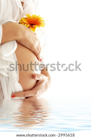 pregnant woman belly with flower in blue water