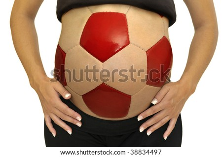 Pregnant woman belly with soccer ball shape isolated in white - stock photo
