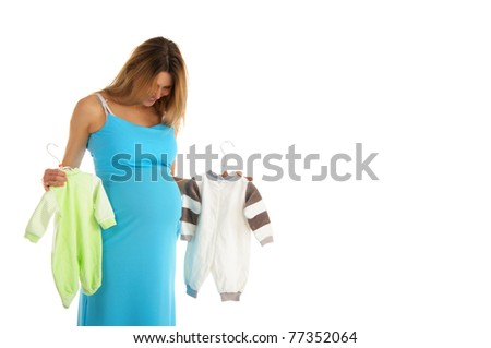 pregnant woman buying baby clothes isolated on white