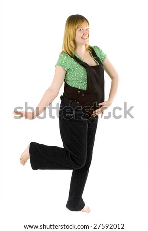 pregnant woman dancing on white background
