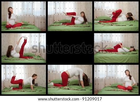 pregnant woman doing yoga on black background