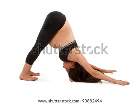 pregnant woman in a yoga pose stock photo 90882494