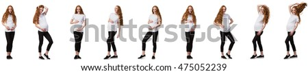 Pregnant woman in composite image isolated on white #475052239