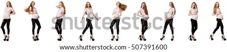 Pregnant woman in composite image isolated on white #507391600