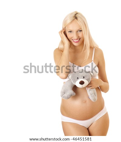stock photo : pregnant woman in lingerie on white background