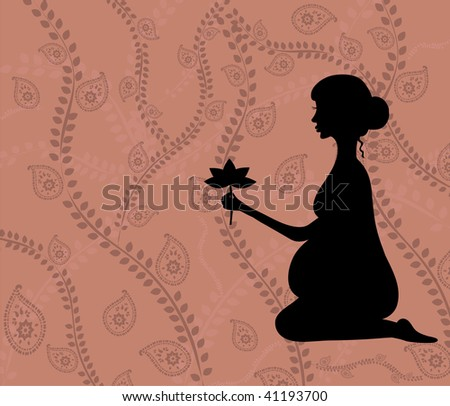 Pregnant woman in paisley background