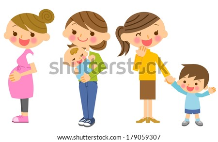 Pregnant woman mother and child illustration