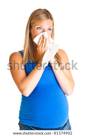 Pregnant woman wiping nose isolated on white