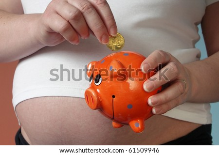 pregnant woman with money-box piggy - stock photo