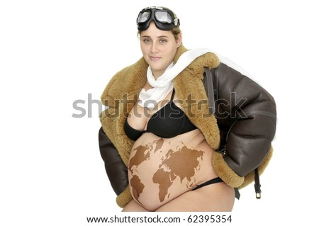 stock photo : Pregnant woman with pilot jacket and world map in her belly