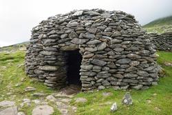 Prehistoric Beehive Hut Dingle Peninsula County Kerry Ireland Eire Irish prehistory freestone construction dry stone