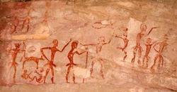 Prehistoric cave paintings over 4000 years Khao Chan Ngam, Nakhon Ratchasima.