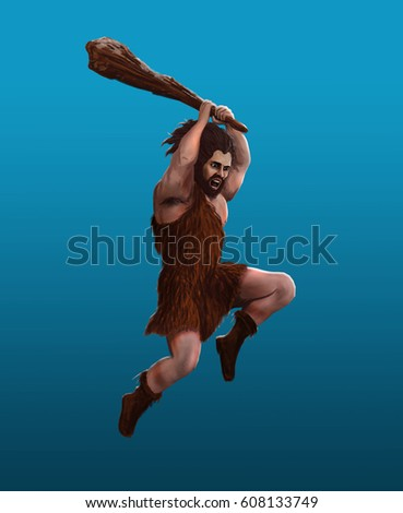 Stock Photo Prehistoric man strikes with a club in a jump