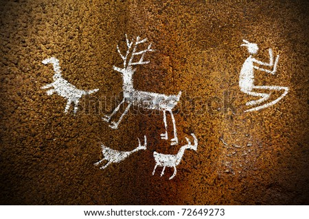 Prehistoric Paintings and drawings in a Cave.