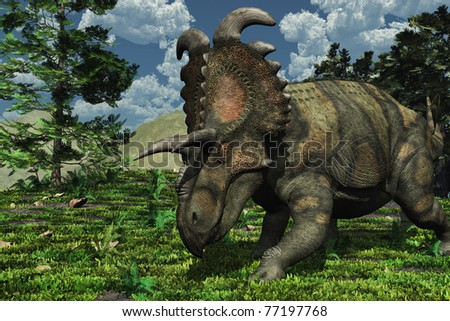 Prehistoric scene featuring an albertaceratops, a dinosaur that lived during the Late Cretaceous period.