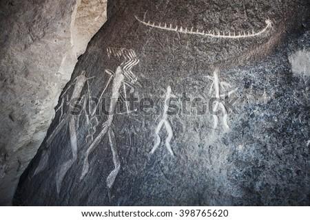 Prehistorical petroglyphs in Qobustan, Azerbaijan. Qobustan petroglyphs are listed by UNESCO as World Heritage.