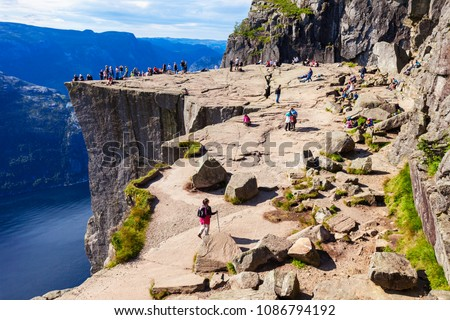 Preikestolen or Prekestolen or Pulpit Rock is a famous tourist attraction near Stavanger, Norway. Preikestolen is a steep cliff which rises above the Lysefjord.