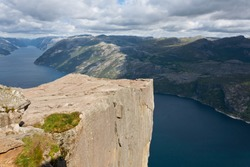 Preikestolen,Pulpit Rock at Lysefjorden (Norway). A well known tourist attraction