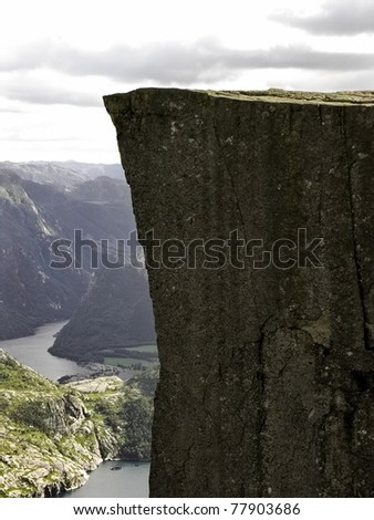 Preikestolen  pulpit-rock view in Norway fjord landscape