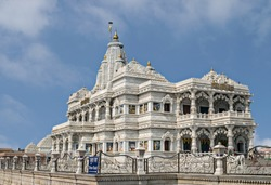 Prem Mandir temple in Mathura, India. Prem Mandir temple is maintained by Jagadguru Kripalu Parishat, an international non-profit, educational, spiritual, charitable trust.