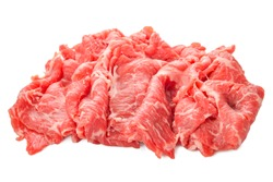 premium Japanese meat sliced wagyu marbled beef isolated on white background